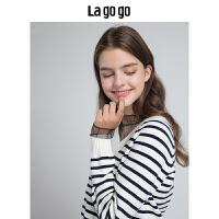 Lagogo/拉谷谷2019秋季新款网纱拼接针织衫HCMM458Y27