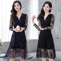 蕾丝连衣裙中长款秋季女装新款长袖修身显瘦v领镂空黑色长裙