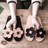凉拖鞋女士夏季韩版2018新款室外可爱外出时尚平底外穿海边一字拖