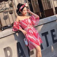 2018夏季新款时尚荷叶袖几何印花抹胸连衣裙 配腰带 送发饰