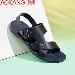 奥康男士休闲凉鞋夏季露趾凉拖罗马真皮凉皮鞋沙滩鞋