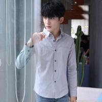 帅气小码丨码男韩风修身衬衣气质亚麻长袖衬衫小款刺绣打底衫潮