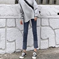 时尚复古韩版女装秋冬季新款百搭翻边牛仔裤长裤高腰修身直筒裤潮