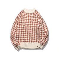 韩版男士民族风圆领格子宽松毛衣加厚学生针织衫chic长袖线衫外套