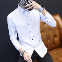 春季时尚潮流衬衫男长袖学生休闲修身男装青年衬衣