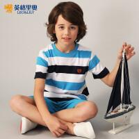 2018夏装新款男童青少年休闲纯棉宽松打底衫中大儿童短袖条纹T恤