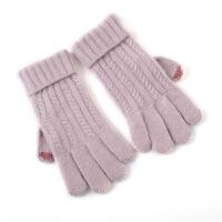 兔毛羊绒 简约冬季女羊毛手套加厚*品保暖安哥拉绒触摸屏手套