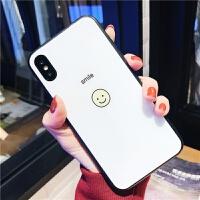 简约笑脸白色镜面玻璃苹果X手机壳iphone7plus情侣款全包防摔6s/8 6/6s 4.7 Smile黄笑脸 玻璃