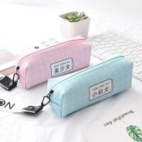 韩国创意少女心笔袋可爱小清新简约大容量PU铅笔袋初中学生文具袋
