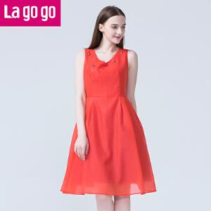Lagogo拉谷谷夏季新款纱网修身V领无袖红色连衣裙女显瘦百褶裙子