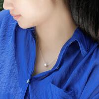正人工养殖珍珠项链女银短锁骨链简约吊坠颈链
