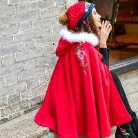 秋冬女装外套新款新年喜庆少女改良民族风毛领刺绣斗篷外披女