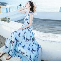 夏季新品女装V领无袖雪纺长裙连衣裙波西米亚海边度假沙滩裙 图片色XZA619