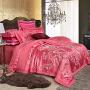伊迪梦家纺 欧美式全棉贡缎提花四套件婚庆 家纺纯棉丝绵床上用品1.8-2.0米大规格床RJ21