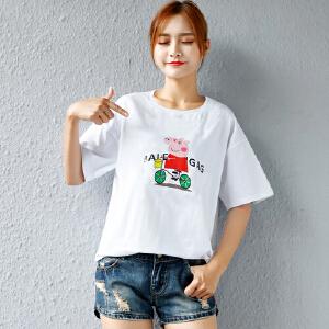 SOOSSN 2018新品棉t恤衫 抖音社会人小猪佩奇t恤 卡通印花短袖T恤女 1095