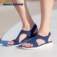 skechers斯凯奇女鞋平底轻质休闲鞋 时尚舒适透气凉鞋 39056