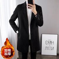 冬季男士风衣2018新款韩版修身条纹中长款毛呢大衣呢子外套男潮流