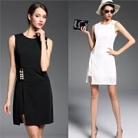 黑裙春秋装新款气质修身显瘦无袖背心连衣裙黑色裙子