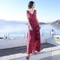 夏季新品女装荷叶边裙显瘦雪纺连衣裙波西米亚长裙海边度假沙滩裙 图片色xz512