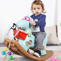 厚婴儿1-2周岁带音乐马车 儿童木马摇马玩具宝宝摇摇马塑料大号
