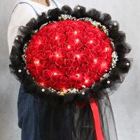 【新款上市】圣诞节礼物仿真玫瑰花束99朵红玫瑰蓝色妖姬手捧花束仿真花永生香皂花礼盒女生圣诞节礼物