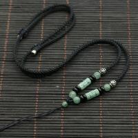 翡翠珠子挂绳项链绳吊坠挂脖男士玉的链子翡翠绳女手工编织