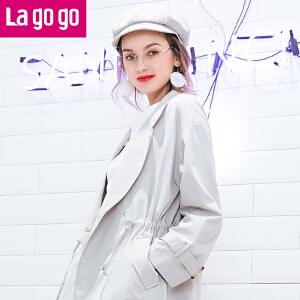 【每满200减100】Lagogo2017春秋新款时尚直筒纯色长袖系带风衣女收腰薄外套中长款