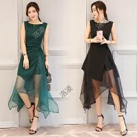 雪纺连衣裙夏新款女装韩版少女时尚修身长裙气质淑女裙子