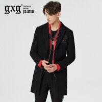 gxg.jeans男装秋冬新品黑色中长款羊毛修身呢大衣潮64626206