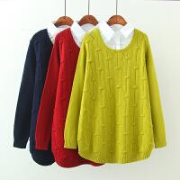 大码女装秋冬款韩版凹凸镂空针织衫胖MM衬衫领假两件长袖毛衣