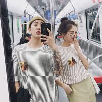 2018潮流情侣装夏装新款潮情侣短袖T恤男女学生条纹韩版上衣半袖