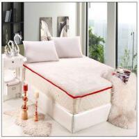 加厚仿纯羊毛海绵床垫羊羔绒床垫长毛床褥子 可拆洗床垫 红色