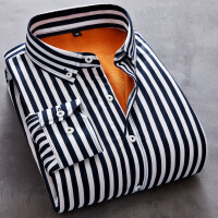 秋冬季新款男士长袖加绒保暖条纹加厚衬衫商务休闲修身青年男衬衣