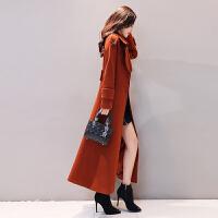 2018秋冬季新款韩版中长款过膝毛呢大衣女加厚长外套收腰显瘦呢子