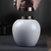 锡罐纯锡茶叶罐哥窑茶叶罐陶瓷锡盖密封罐大号便携储茶罐锡罐家用 私人定制