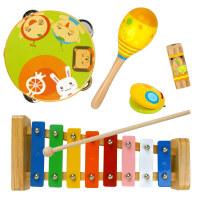 五彩童年音乐启蒙五件套 手鼓敲琴沙锤口哨响板儿童音乐木制玩具