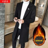风衣男韩版中长款呢子大衣ins超火的风衣外套潮秋季修身毛呢大衣 加棉