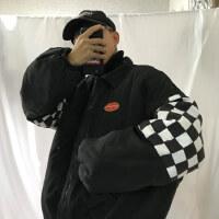 韩国INS同款复古黑白棋盘格子拼接加厚蓬松外套