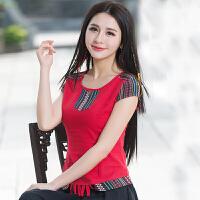 中国风女装T恤 夏装新款 民族风上衣拼接短袖圆领棉麻衬衫女