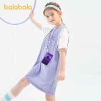 【抢购价:69】巴拉巴拉女童连衣裙儿童裙子2021新款夏装大童球衣假两件甜酷潮流