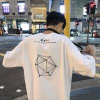 港风夏季男士几何图案绣花短袖T恤韩版宽松圆领半袖打底衫潮流