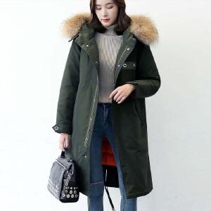 yaloo/雅鹿冬装中长款修身大毛领羽绒服女时尚保暖外套