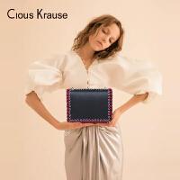 Clous KrauseCK女包单肩包时尚个性小方包明线走边女士斜挎包女神链条百搭复古单肩包