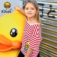 【4折价:95.6】B.duck小黄鸭童装女童短袖T恤纯棉上衣夏装宽松打底衫BF2001937
