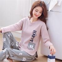 韩版春秋季睡衣女纯棉长袖甜美可爱夏天薄款可外穿家居服两件套装