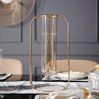摩登 欧式现代不锈钢玻璃创意花瓶花艺套餐摆件别墅样板房装饰品