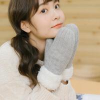 日系小清新冬季针织保暖韩版女可爱学生毛线手套加厚甜美软妹挂脖