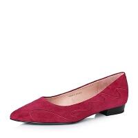 Joy&Peace/真美诗专柜同款暗羊绒皮革女皮鞋ZR137CQ6