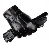 触屏手套男士皮手套 冬季保暖防风加绒加厚PU手套 男冬季骑车电动车摩托车开车手套