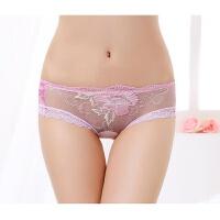 内裤女性感透明低腰诱惑蕾丝刺绣花朵女生三角裤透气薄款网纱 粉